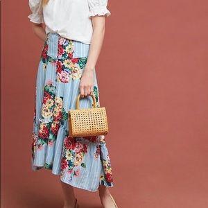 Maeve Anthro Claudette Midi Skirt Floral Blue 6